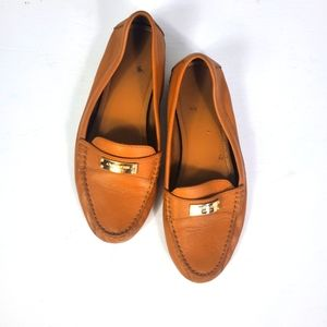 Coach Leather Fredrica Pebbled Tan Driving Loafer
